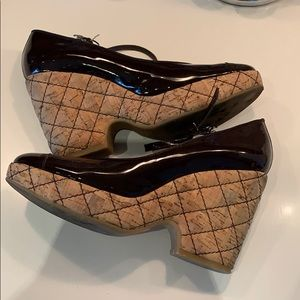 CHANEL Patent Cork Wedges